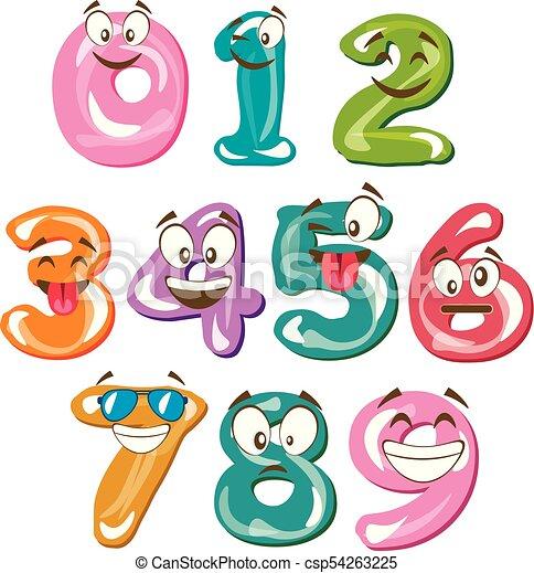 Funny cartoon numbers. vector illustration flat design.