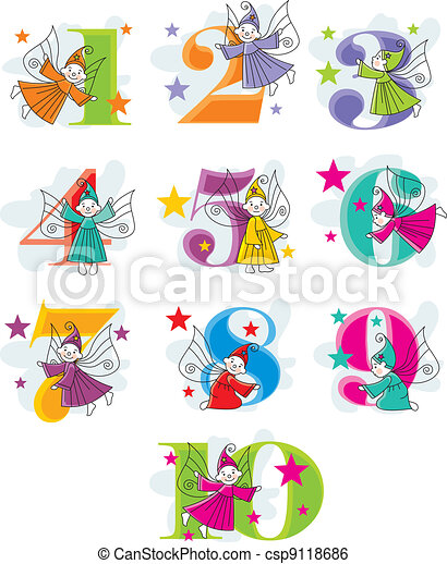 Funny Cartoon Numbers With Elves Csp