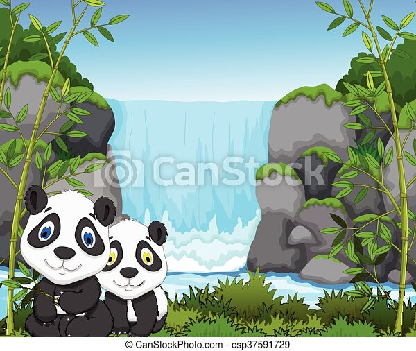 funny cartoon panda with waterfall - csp37591729