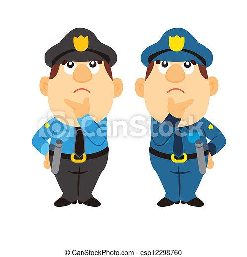 Funny cartoon policeman, two colors. Funny cartoon ...