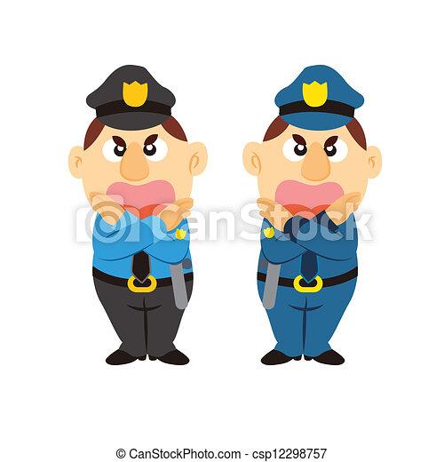 funny cartoon policeman, two colors - csp12298757