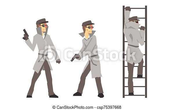 Funny Cartoon Private Detective Character Is Investigating Vector Illustration Set Isolated On White Background - csp75397668