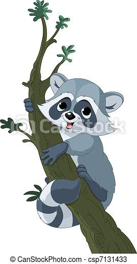 Funny cartoon raccoon on the tree - csp7131433