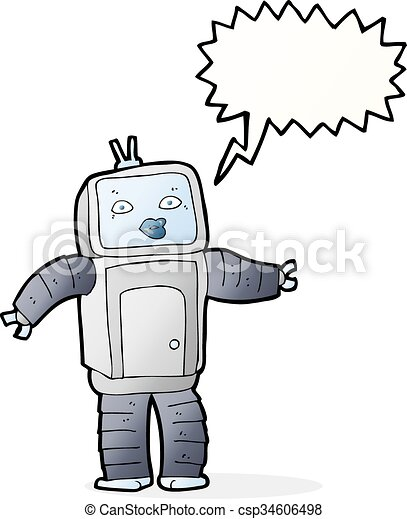 funny cartoon robot with speech bubble