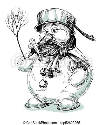 Funny cartoon snowman isolated drawing - csp52623265