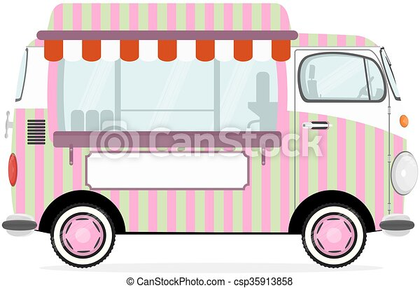 Funny Cartoon Street Food Truck Vector