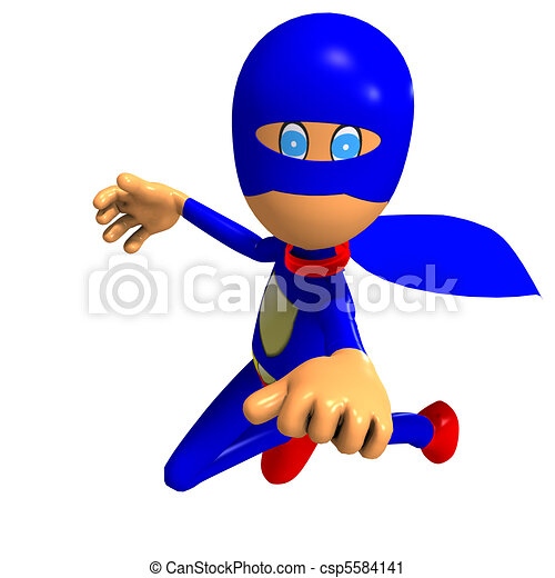 funny cartoon super hero. 3D rendering and shadow over white - csp5584141