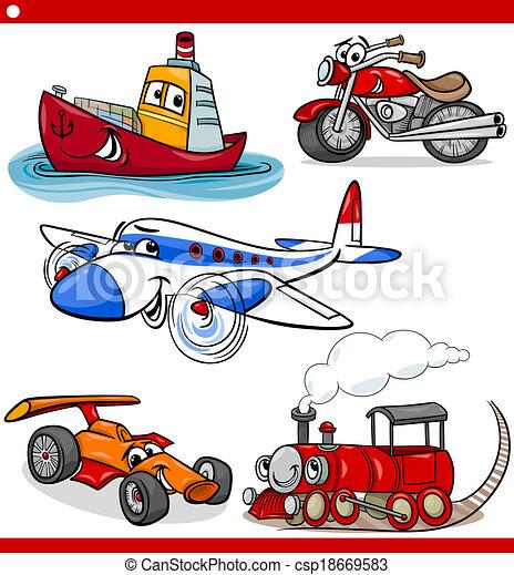 funny cartoon vehicles and cars set - csp18669583