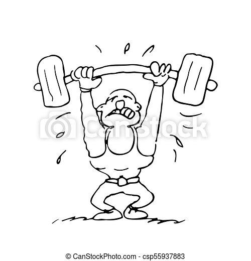 funny cartoon weight lifting - csp55937883
