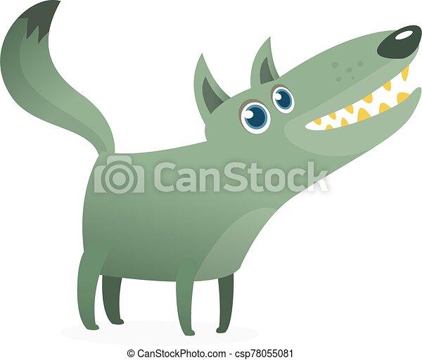 Funny cartoon wolf. Vector illustration - csp78055081