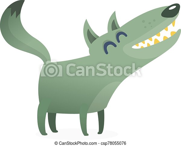 Funny cartoon wolf. Vector illustration - csp78055076