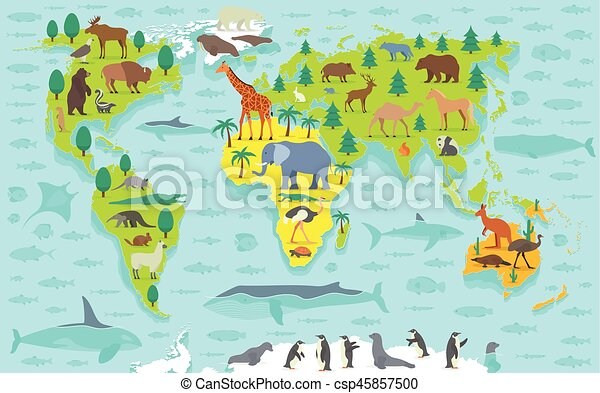 Funny cartoon world map with traditional animals of all the funny cartoon world map csp45857500 gumiabroncs Images