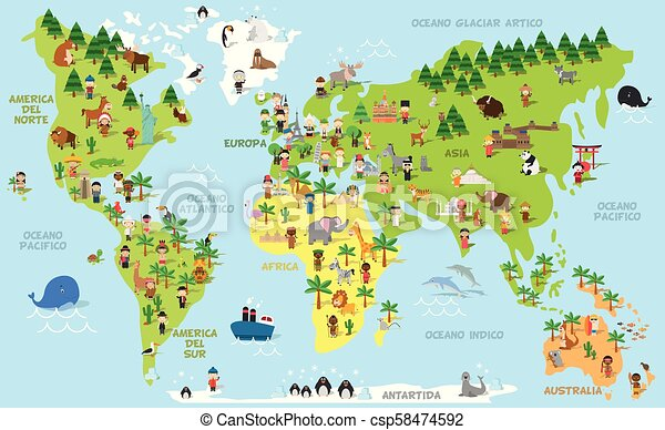 Funny cartoon world map with kids of different nationalities
