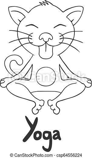 Creative Design Of Funny Cat In Yoga Pose