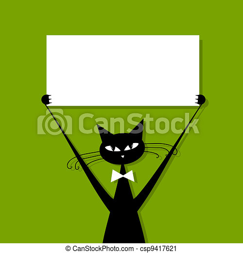 Funny cat with business card, place for your text - csp9417621