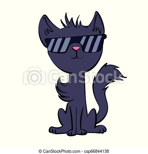 Funny cat with sunglasses cartoon - csp66844138
