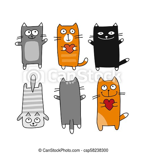 Funny cats collection, sketch for your design - csp58238300