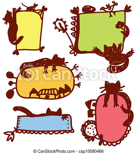 Funny cats frames for children set clip art vector - Search Drawings ...