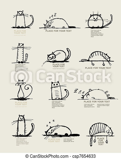 Funny cats sketch, design with place for your text - csp7654633