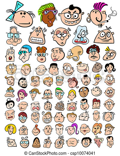 Funny Characters Doodle Cartoons. Cute People Expressions Icons - csp10074041