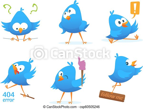 Funny characters of blue birds in action poses - csp60505246