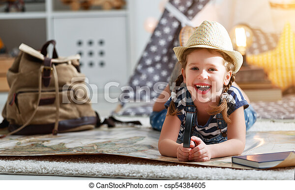 Funny child girl tourist with world map backpack and magnifier funny child girl tourist with world map backpack and magnifier csp54384605 gumiabroncs Image collections