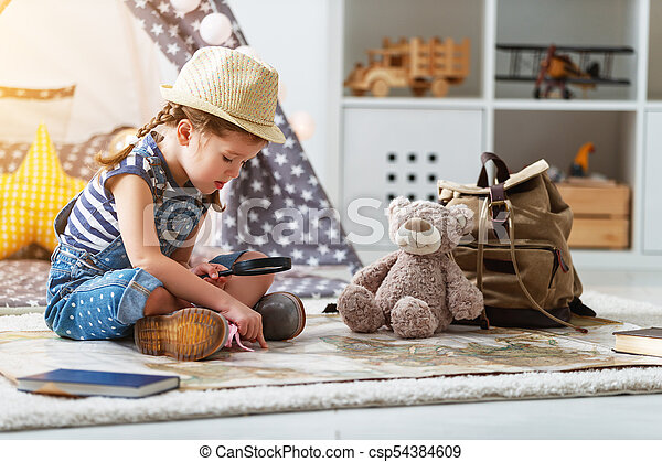 Funny child girl tourist with world map backpack and stock funny child girl tourist with world map backpack and magnifier csp54384609 gumiabroncs Image collections