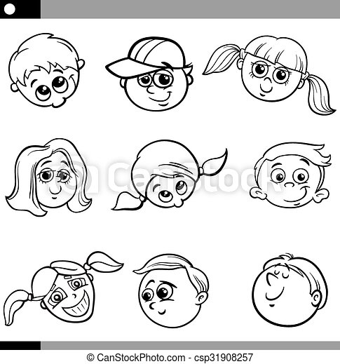 Funny Children Characters Set Black And White Cartoon Illustration