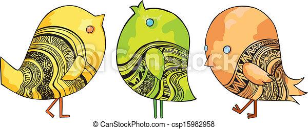 Funny Chirping Birds - csp15982958