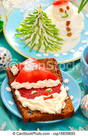 funny christmas breakfast for child - csp16839693