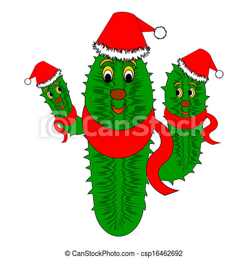Christmas Cactus Clipart.Funny Christmas Cactus