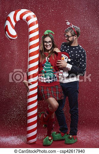 Funny Christmas Couple In Snow
