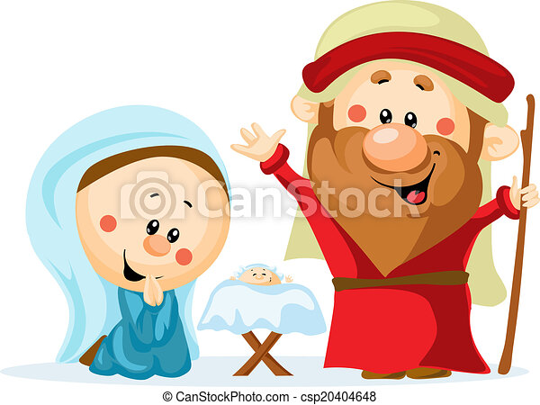 Funny Christmas nativity scene with holy family - Christmas crib, baby Jesus, virgin Mary and Joseph (cute vector illustration) - csp20404648