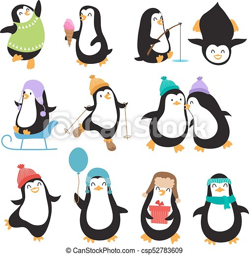 Funny Christmas Pictures.Funny Christmas Penguins Vector Characters