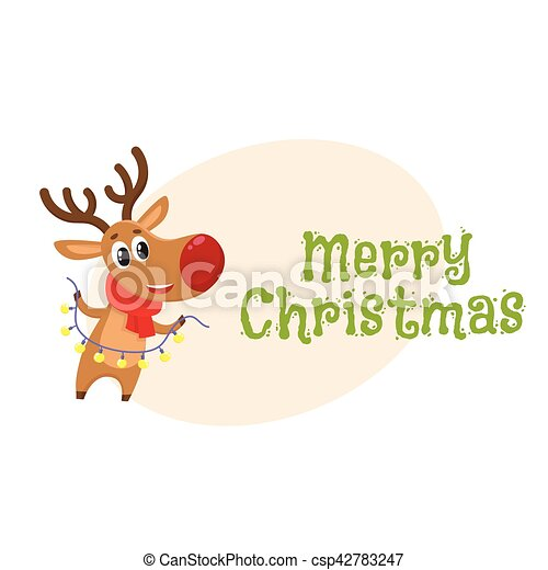 f8f5d2631d519 Funny Christmas reindeer in red scarf holding a garland - csp42783247