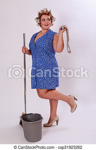 Funny Cleaning Lady Wearing High Heel Shoes
