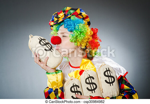 Funny clown in comical concept - csp30984982