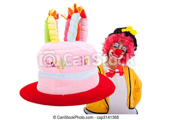 Cool Funny Clown Holding A Birthday Cake Hat Isolated On White Funny Birthday Cards Online Inifodamsfinfo