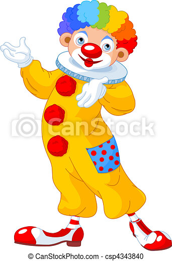 Funny Clown presenting - csp4343840