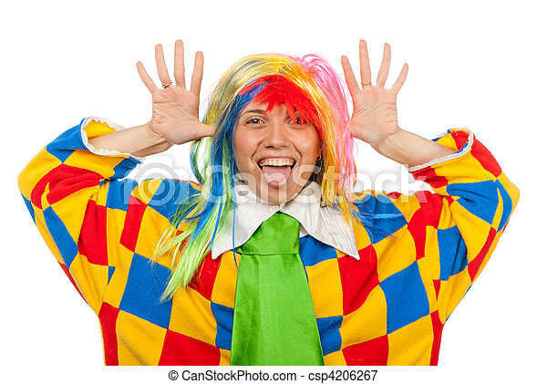 Funny clown woman in rainbow wig - csp4206267