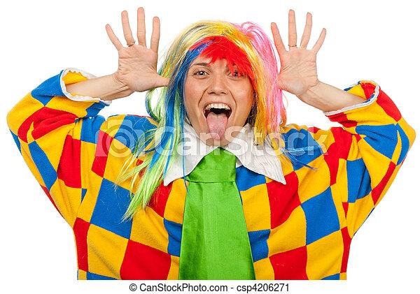 Funny clown woman in rainbow wig - csp4206271
