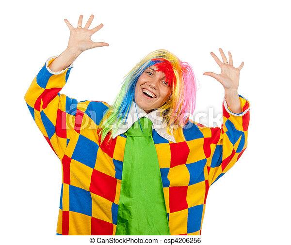 Funny clown woman in rainbow wig - csp4206256