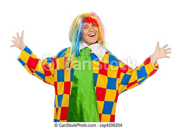 Funny clown woman in rainbow wig - csp4206254