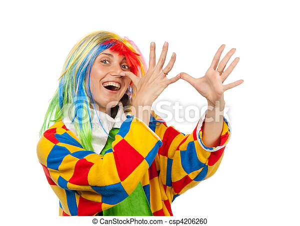 Funny clown woman in rainbow wig - csp4206260