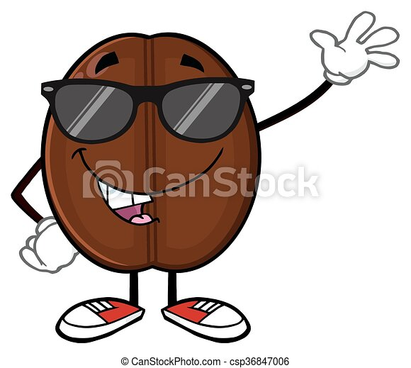 Funny Coffee Bean With Sunglases  - csp36847006