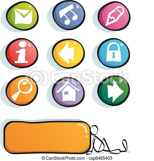 funny color web icons internet color buttons for cute vectors rh canstockphoto com