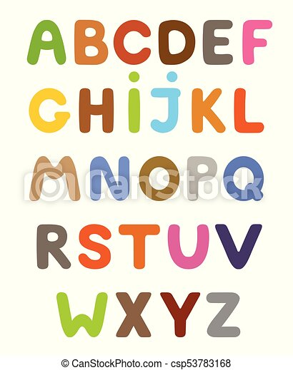 funny colorful cartoon alphabet alphabetical letters abc for children set of vector isolated letters https www canstockphoto com funny colorful cartoon alphabet 53783168 html