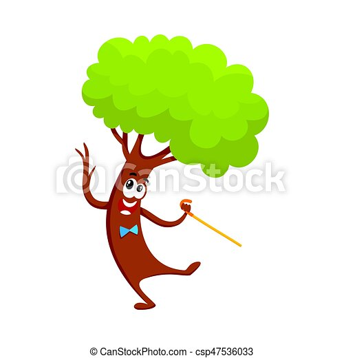 funny comic tree character dancing step with walking cane cartoon rh canstockphoto com Christmas Animal Clip Art Spring Word Clip Art