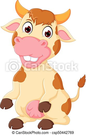 funny cow cartoon posing with smiling - csp50442769
