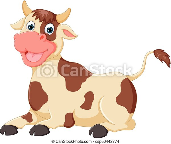 funny cow cartoon sitting with laughing - csp50442774